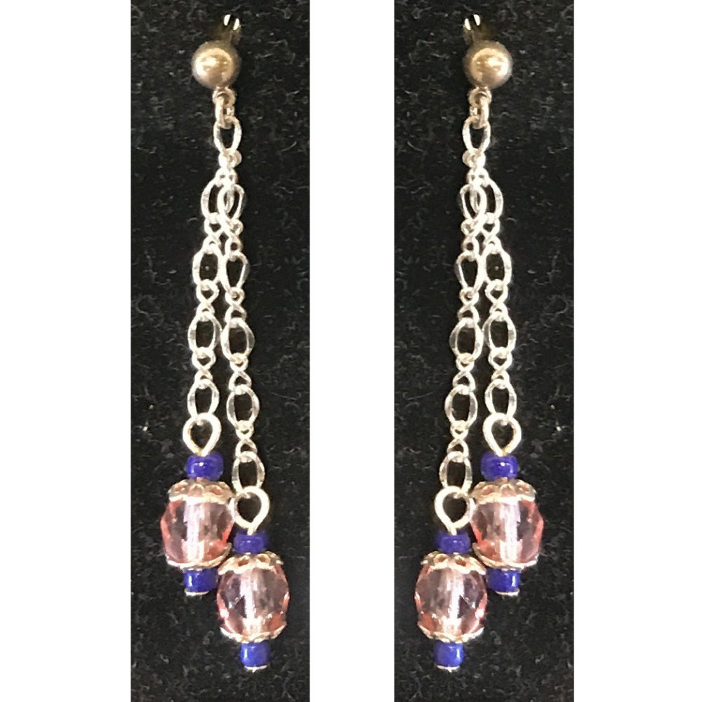 Judy Phillips earrings with pink and purple beads