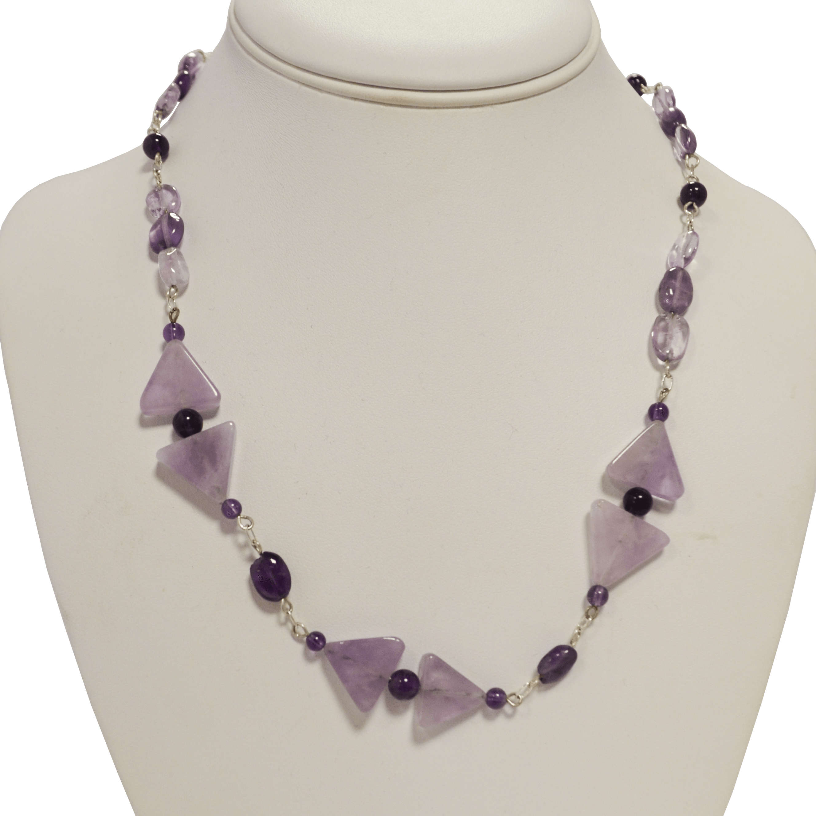 Purple triangles necklace by Judy Phillips