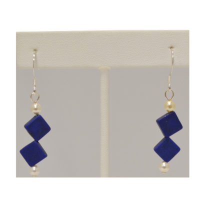 Stone and pearl earrings by Judy Phillips