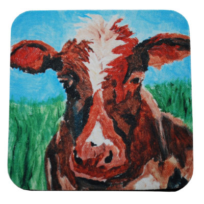 Brown cow coaster by Kathleen Wells