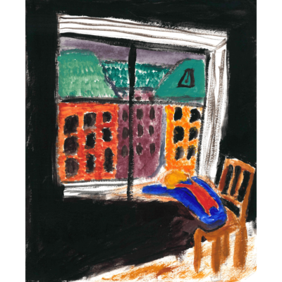 Untitled (figure at window) by Kathleen Wells