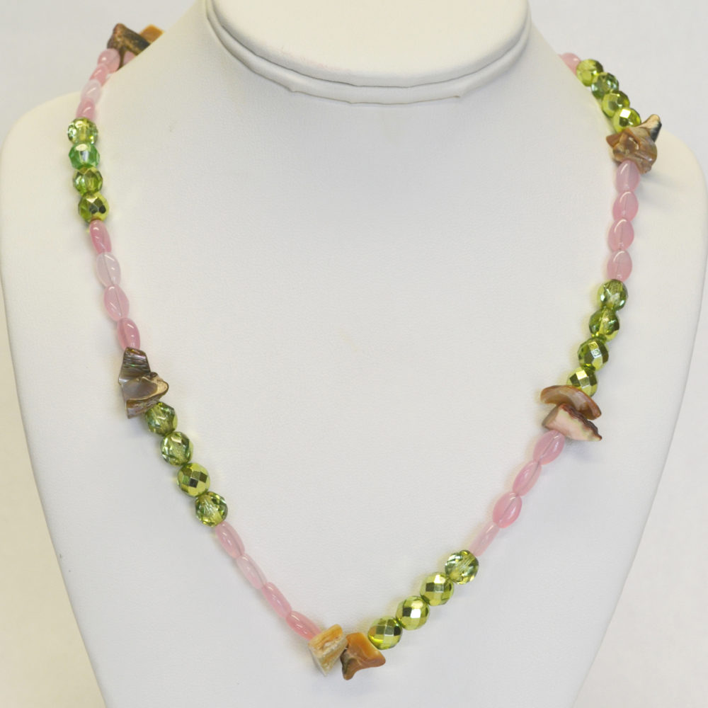 Pink and green necklace by Kayla Johnson