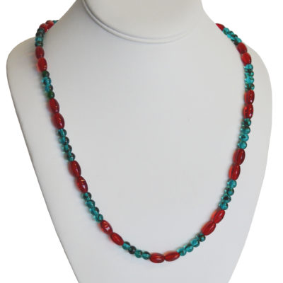 Red and Teal Necklace by Kayla Johnson