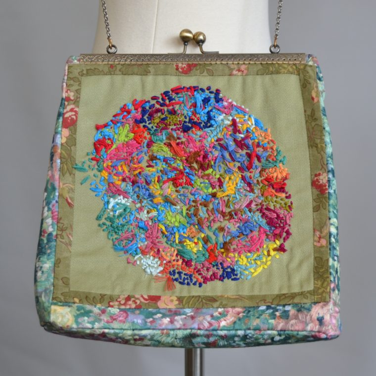 Abstract embroidered shoulder bag by Kayla Snover