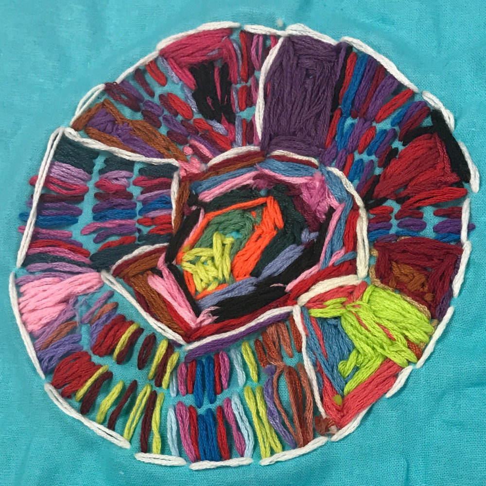 Embroidery (aqua background) by Kayla Snover