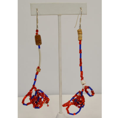 Red and blue drop earrings by Kenneth Reynolds