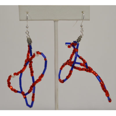 Red and blue earrings by Kenneth Reynolds