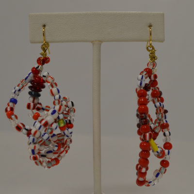 Red, white and blue cluster earrings by Kenneth Reynolds