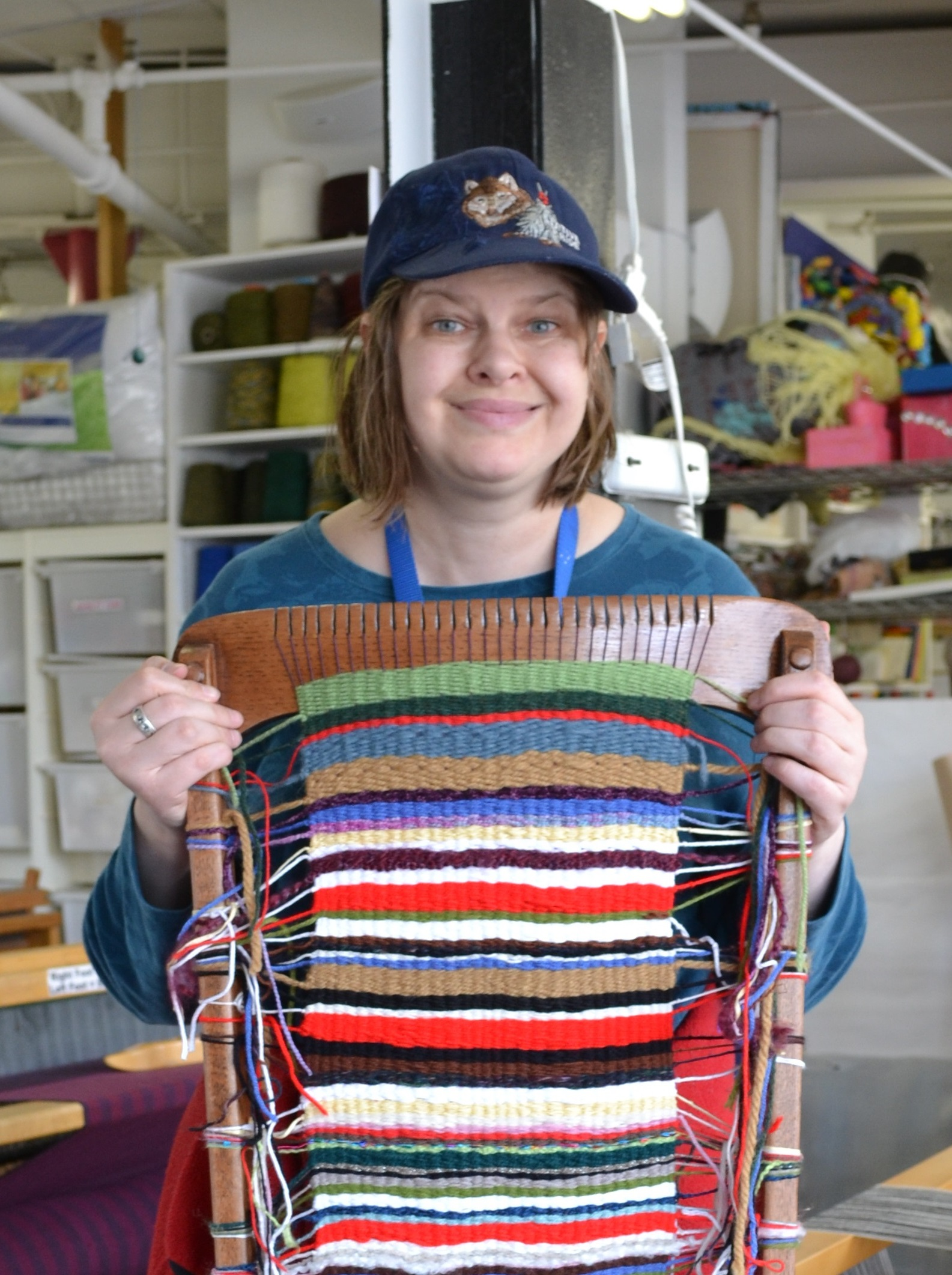 Laurie Maguire in the weaving studio