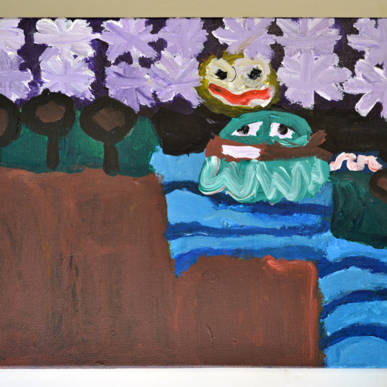 Leah Dunn. A Frog Playing a Banjo. Acrylic on canvas. 2019.
