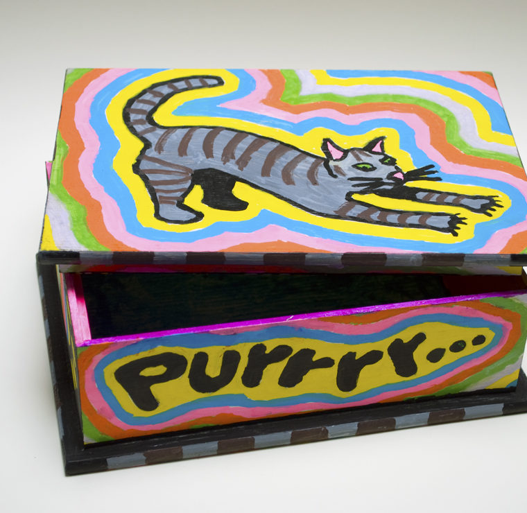 Larry Edmiston. Paint markers on wooden box. Date unknown.