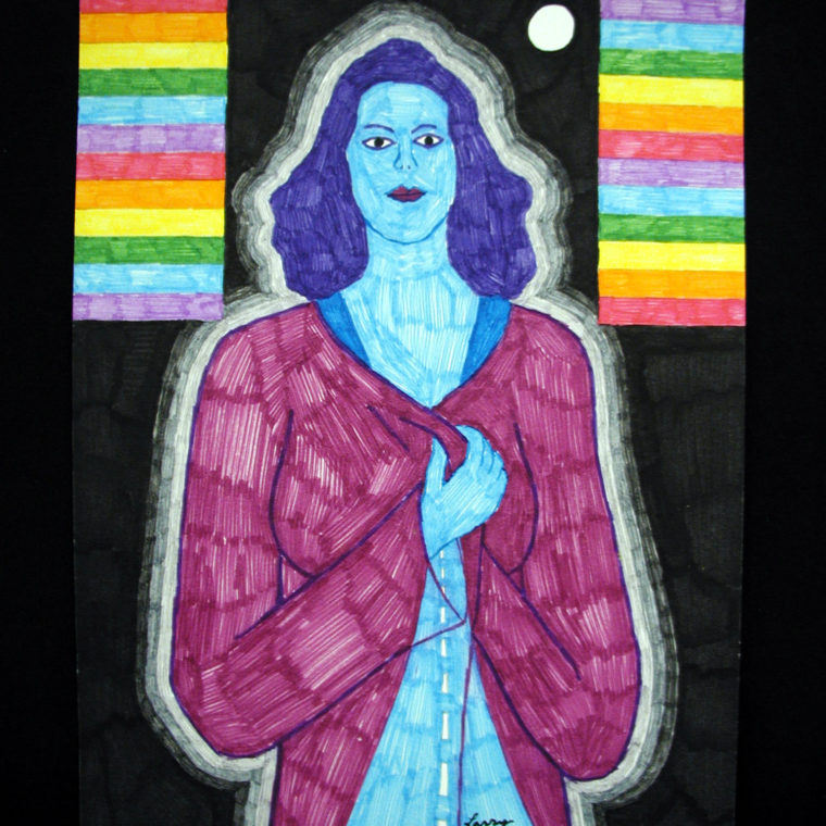 Larry Edmiston. Spirit of Natalie Wood in the Night. Marker on Paper. 2003.