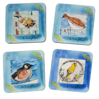 Birds of Covid II coaster set by Leah Dunn