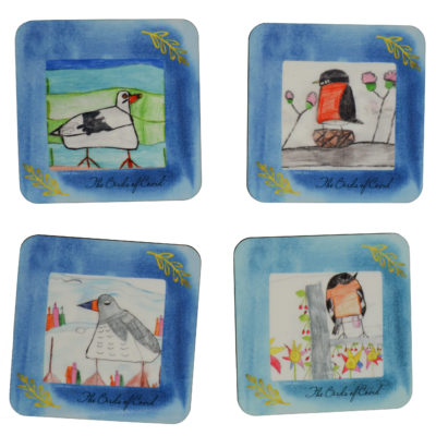 Birds of Covid coasters by Leah Dunn