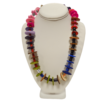 Red and purple necklace by Lucy Watkins