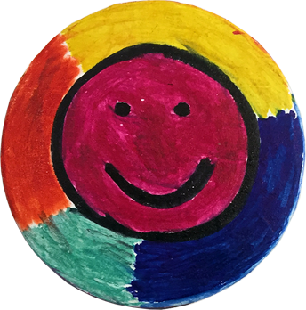 Smiley face pin by Lucy Watkins