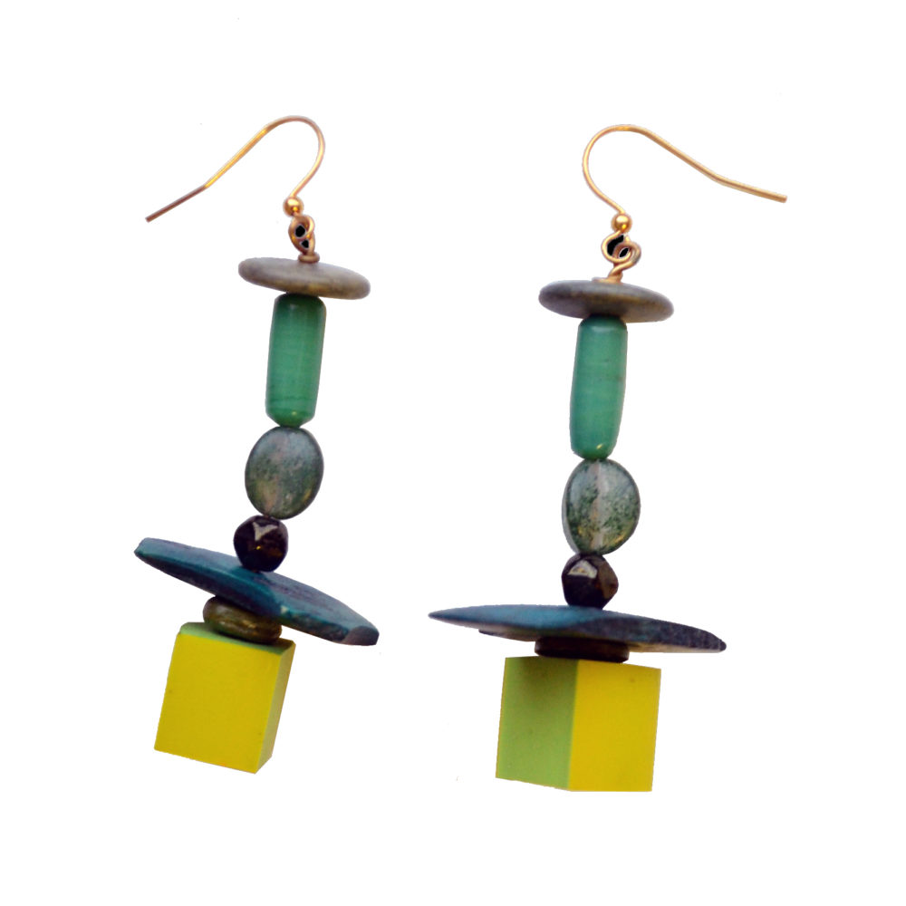 Green stack earrings by Maria Fulchino