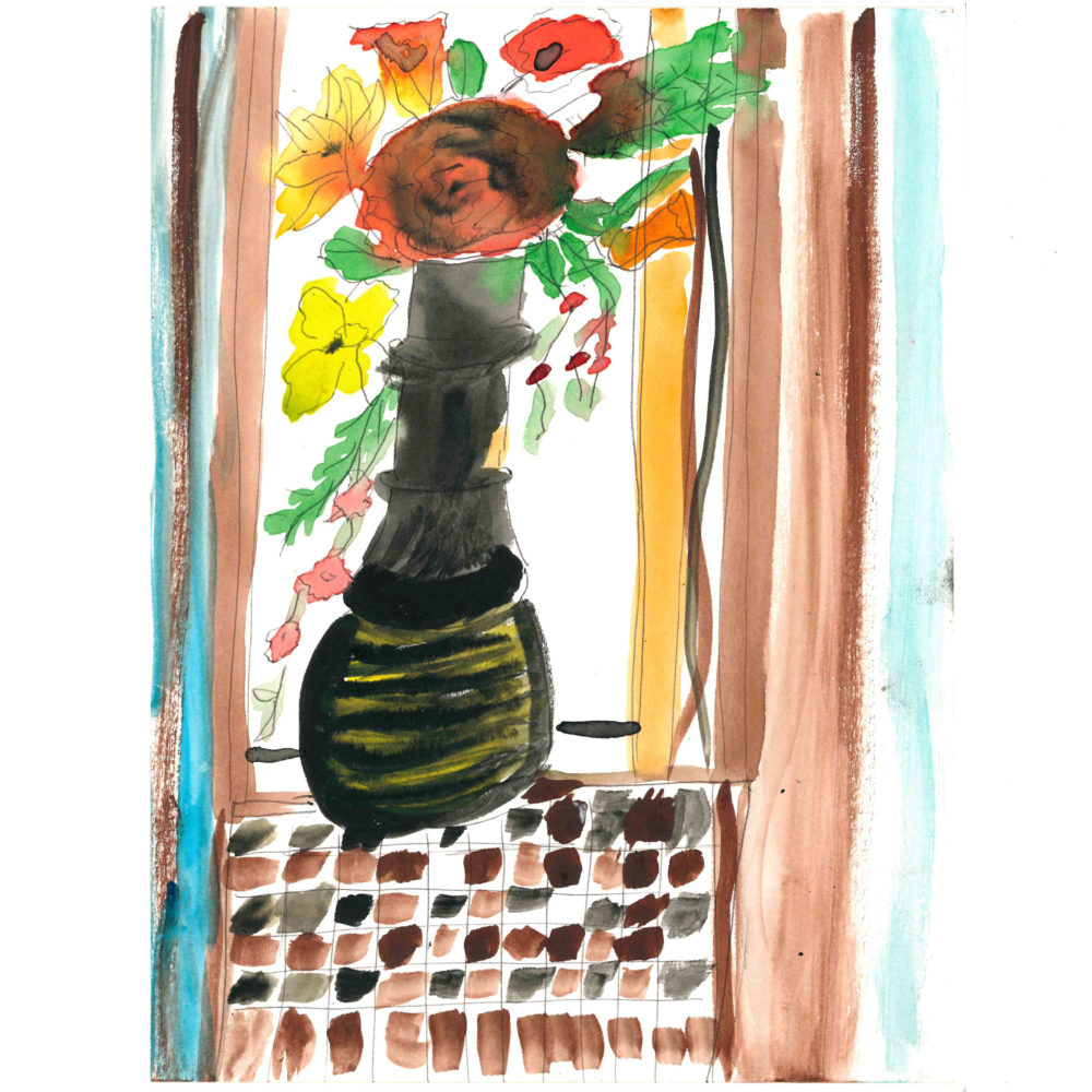Untitled vase of flowers by Mary Galgay