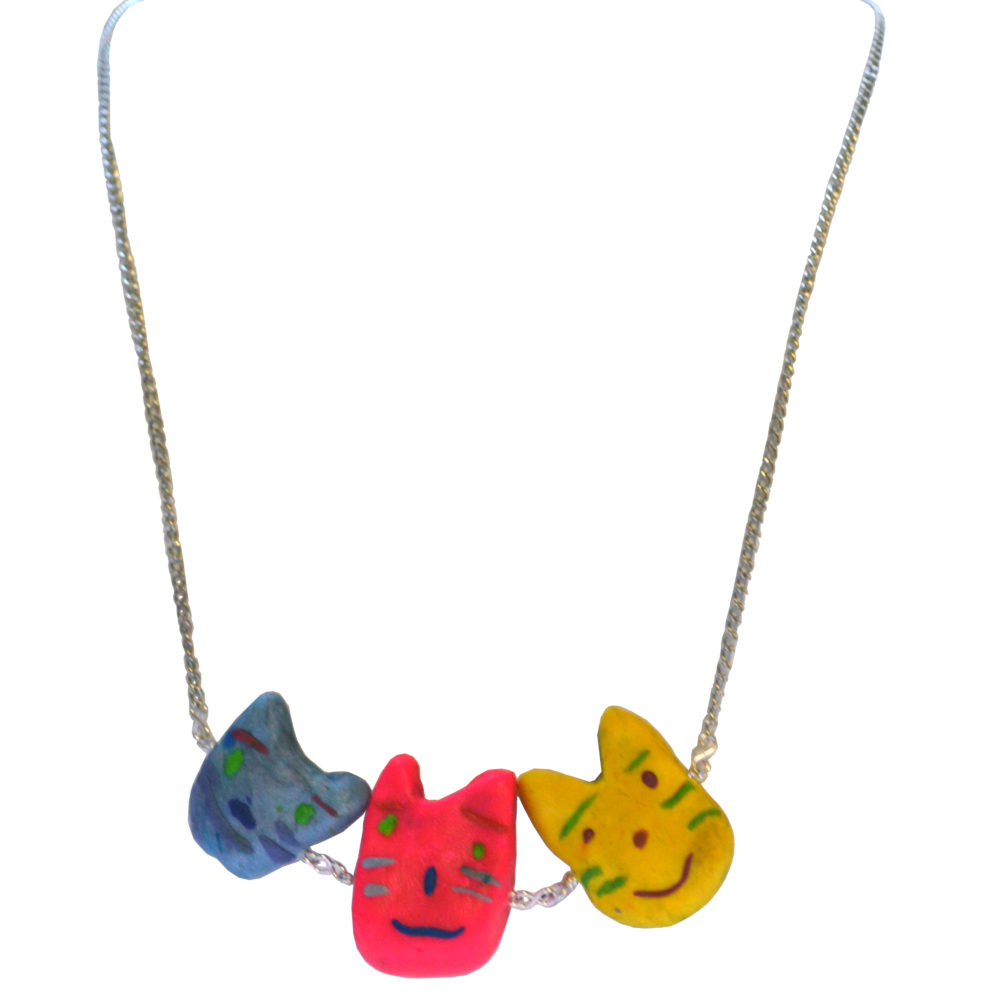 Bright cat necklace by Matthew Treggiari
