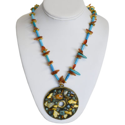 Turquoise and amber necklace by Matthew Treggiari