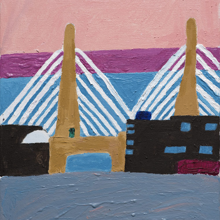 Colleen McFarland. Zakim Bridge. Acrylic on panel. 2018.