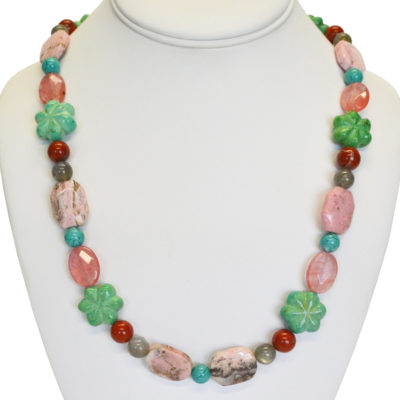 Turquoise flowers necklace by Melissa Berman