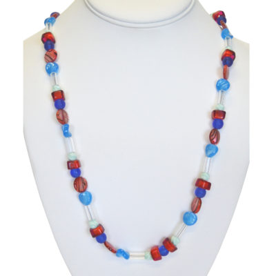 Red and blue pops necklace by Melissa Berman