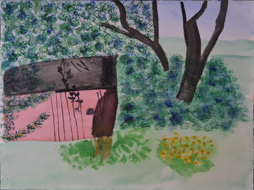 Untitled (tree and shed) by Nancy Sampson