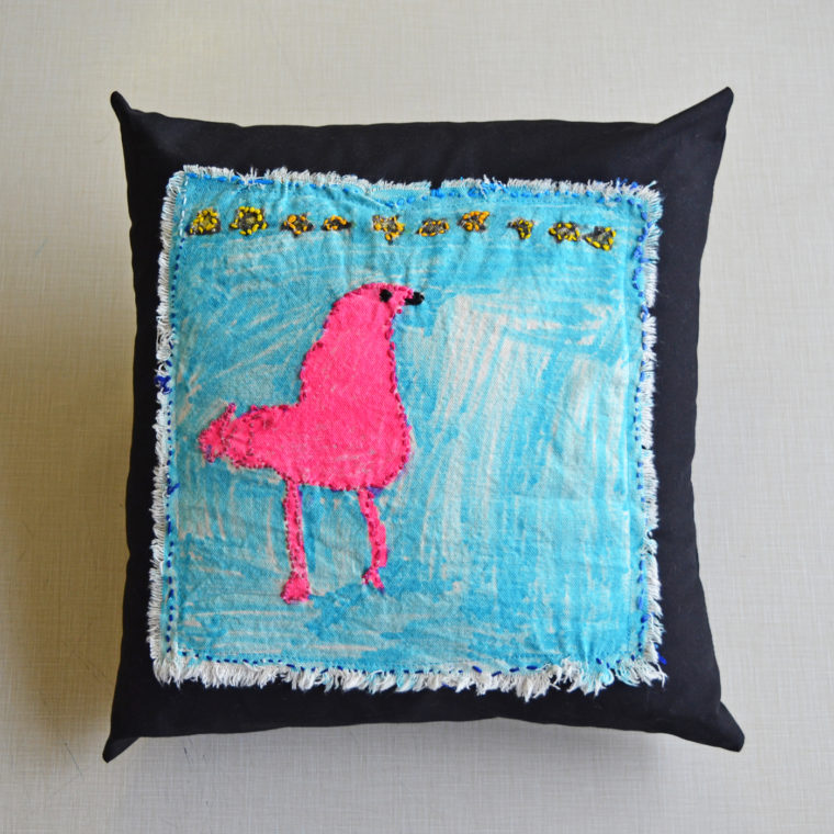 Bird pillow by Nina Aronson