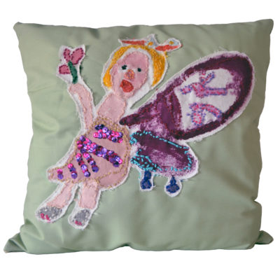Embroidered pillow by Nina Aronson
