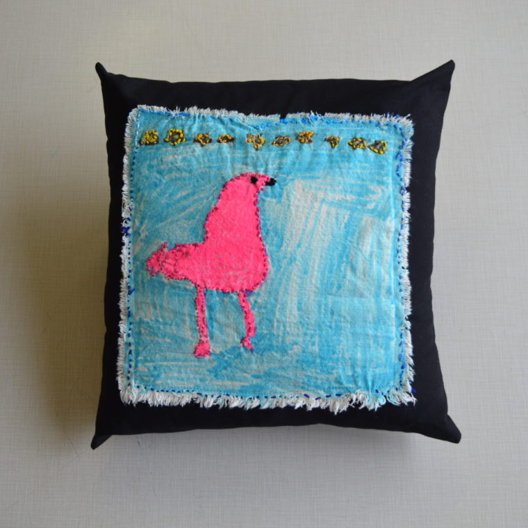 Flamingo pillow by Nina Aronson