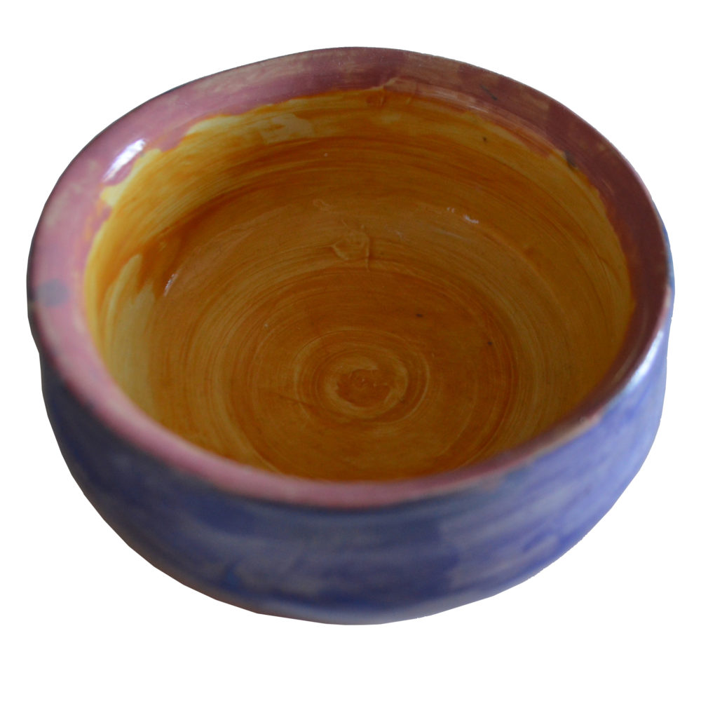 Blue yellow and pink bowl by Ona Stewart