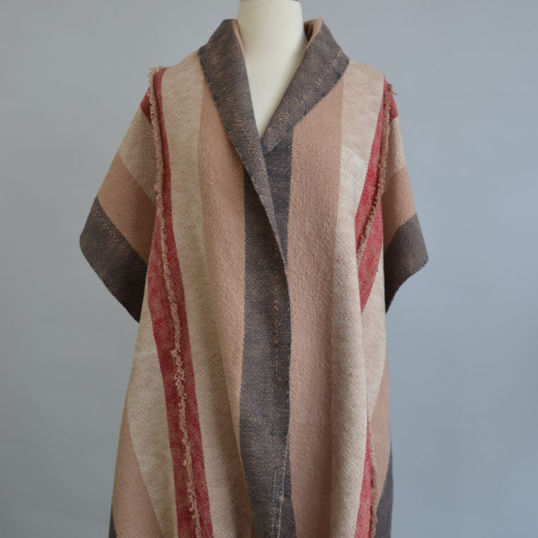 Grey and tan cotton shawl by Ona Stewart