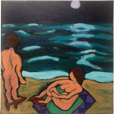 Bathers painting by Pat Peter
