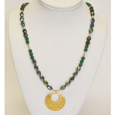 Gold and green pendant necklace by Patrick Shea