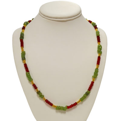Red, green and gold necklace by Patrick Shea