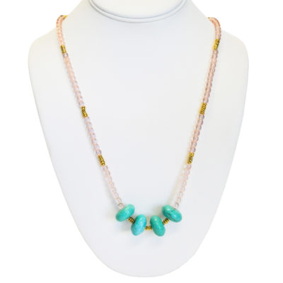 Pink glass and dyed aqua beads necklace by Patrick Shea