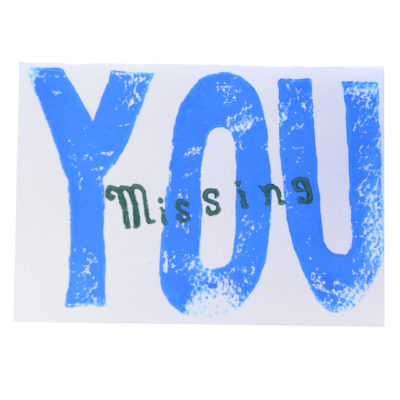 Missing You (blue) card by Paul Eno