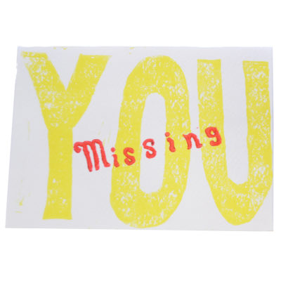 Yellow Missing You card by Paul Eno