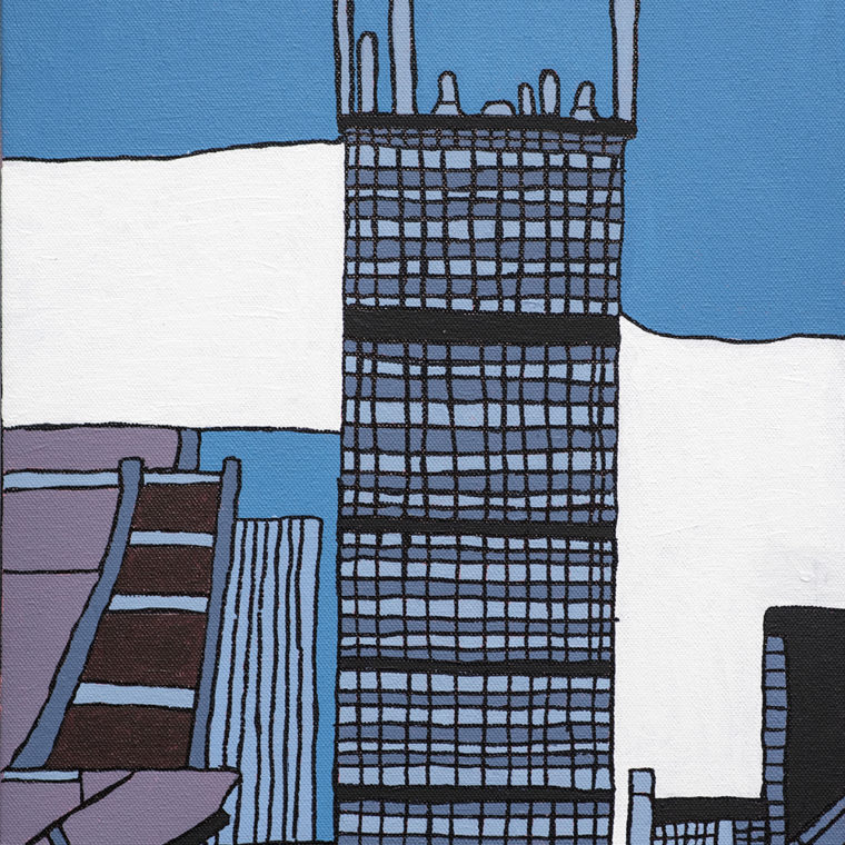 Brenda Sepulveda. Prudential Building. Acrylic and paint marker on canvas.