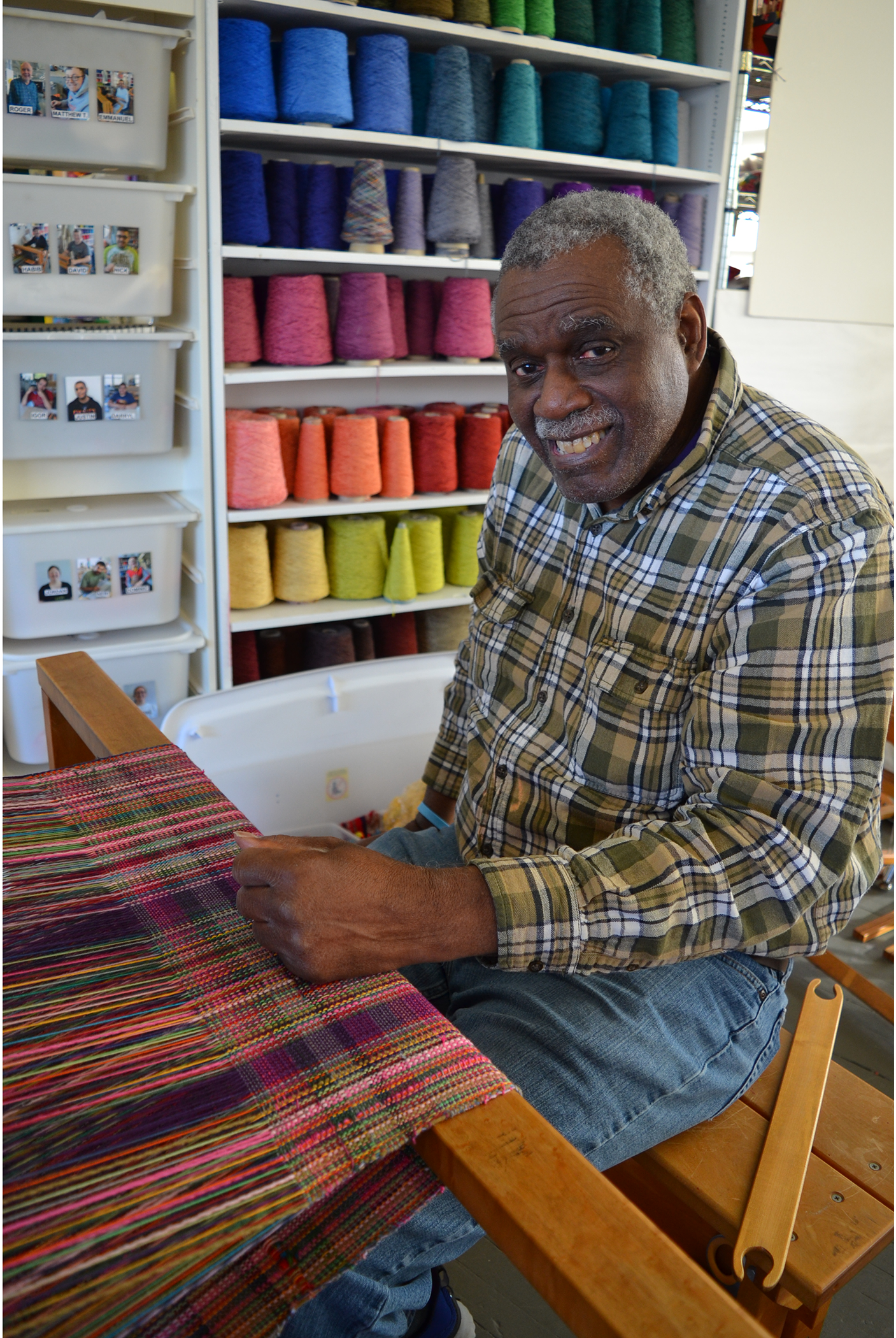 Sidney Perry in the weaving studio