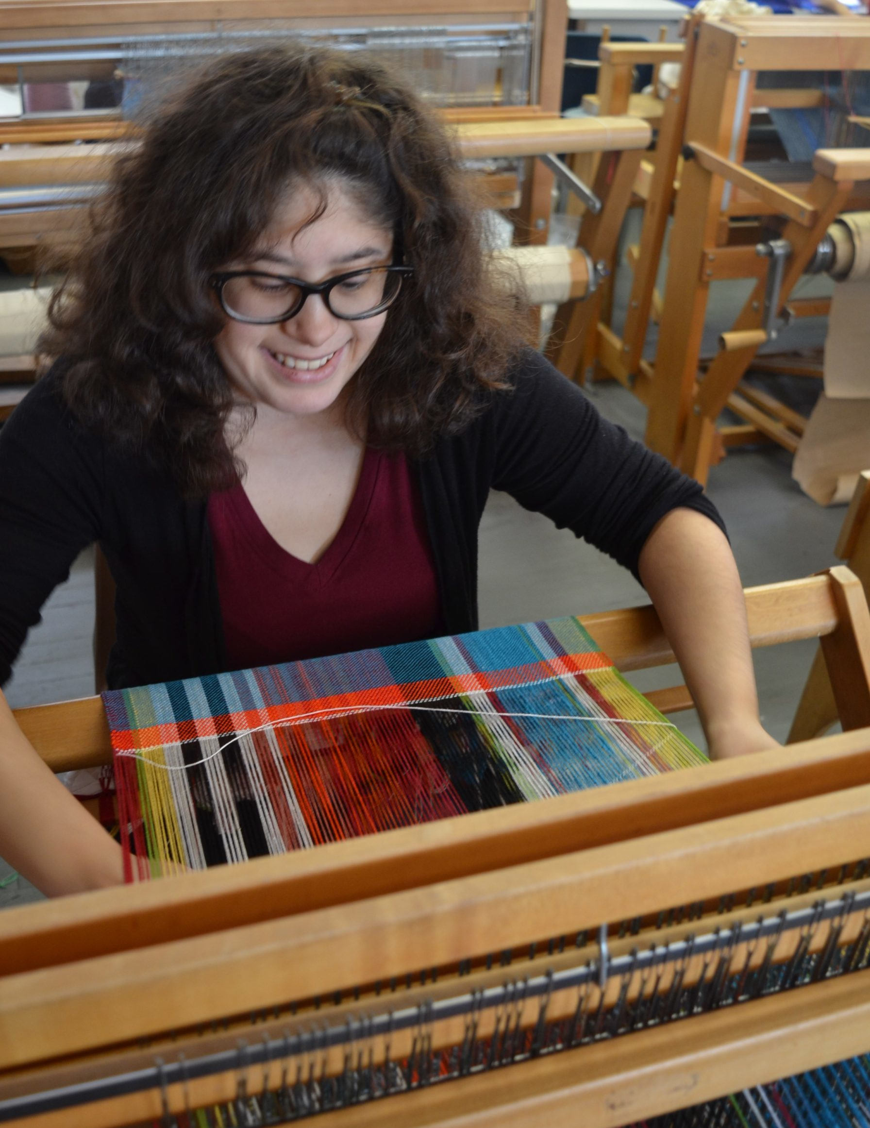 Sofia Bocanegra in the weaving studio
