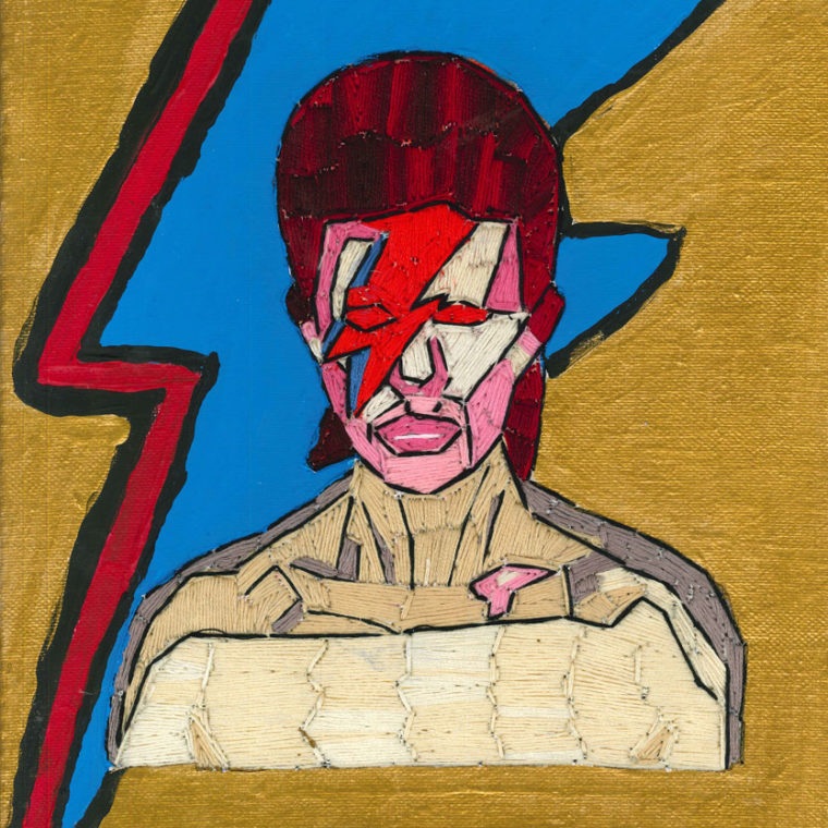 Alison Doucette. David Bowie. Embroidery and acrylic on canvas.
