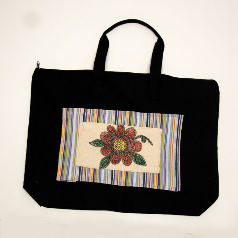 Tote with orange flower by Robin Jones