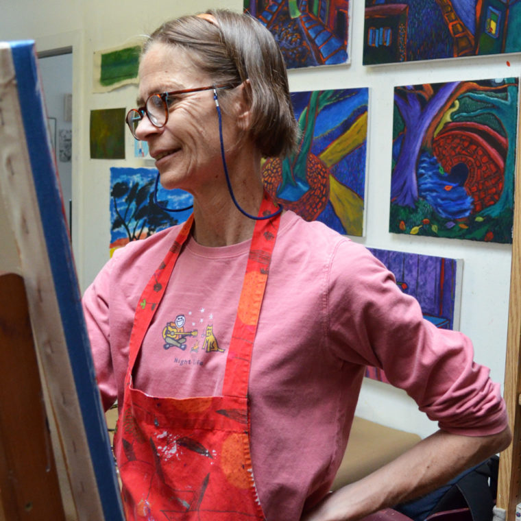 Artist Pat Peter working in Studio A.