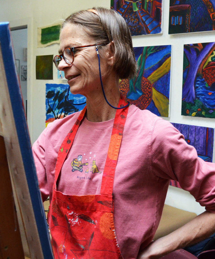 Artist Pat Peter working in Studio A
